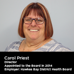 Carol Priest Director Appointed to the Board in 2014 Employer: Hawkes Bay District Health Board